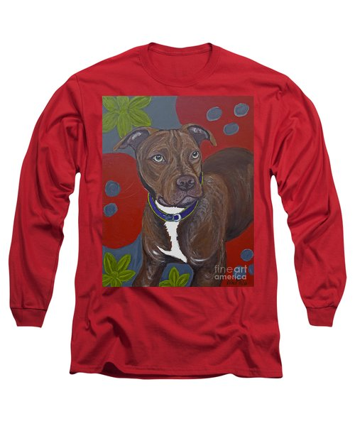 Long Sleeve T-Shirt featuring the painting Niko The Pit Bull by Ania M Milo