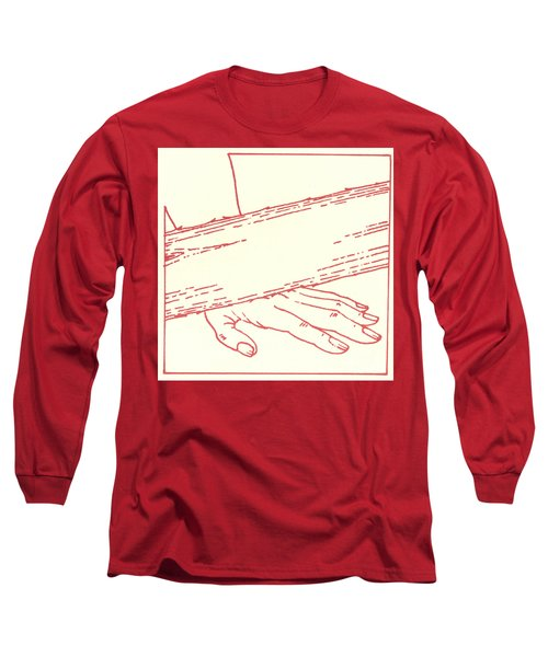 Long Sleeve T-Shirt featuring the drawing Ninth Station- Jesus Falls The Third Time by William Hart McNichols