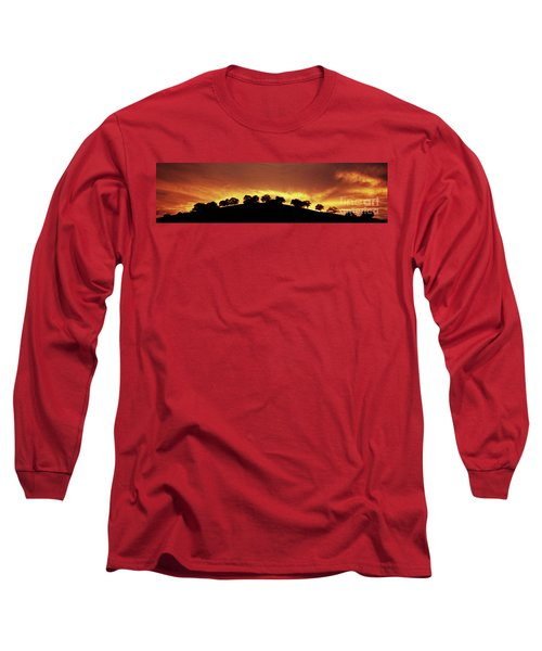 Long Sleeve T-Shirt featuring the photograph Oaks On Hill At Sunset by Jim and Emily Bush