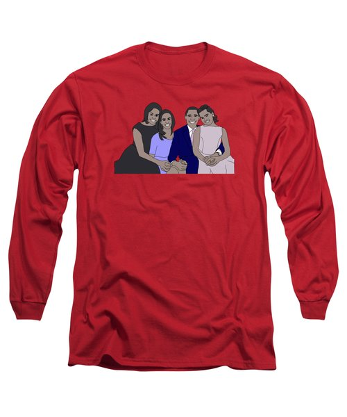 Obama Family Long Sleeve T-Shirt by Priscilla Wolfe