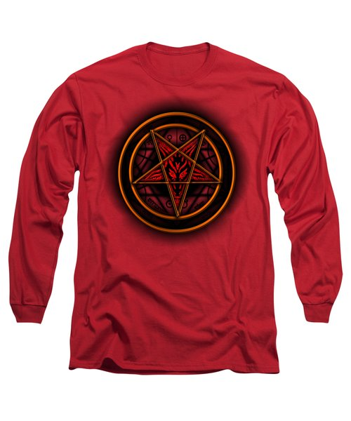 Occult Magick Symbol On Red By Pierre Blanchard Long Sleeve T-Shirt