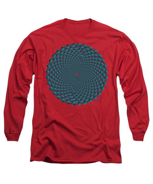 Octagonal Peacock Feathers Long Sleeve T-Shirt