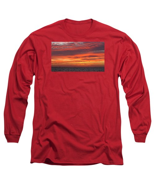 Long Sleeve T-Shirt featuring the photograph October's Sunrise On Sanibel Island by Melinda Saminski