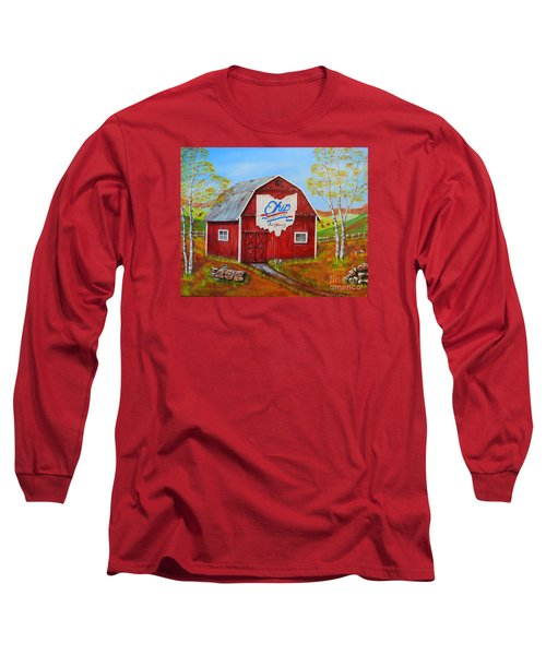 Long Sleeve T-Shirt featuring the painting Ohio Bicentennial Barns 2 by Melvin Turner