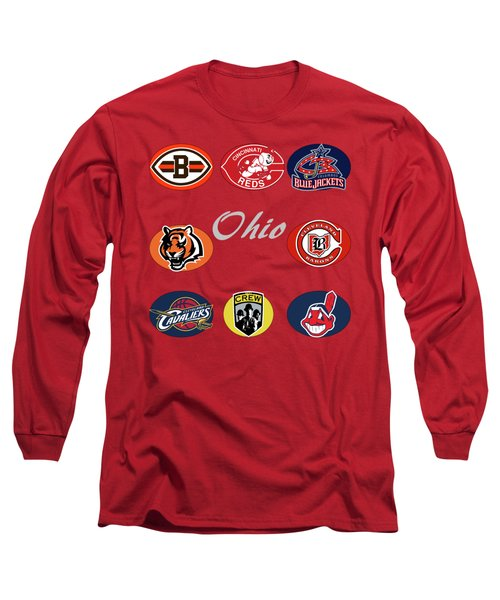 Ohio Professional Sport Teams Collage Long Sleeve T-Shirt by Movie Poster Prints