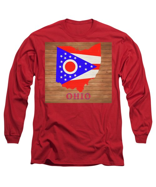 Ohio Rustic Map On Wood Long Sleeve T-Shirt