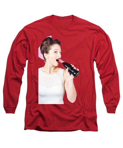 Old-fashion Pop Art Girl Drinking From Soda Bottle Long Sleeve T-Shirt