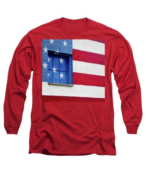 Old Glory, American Flag Mural, Street Art Long Sleeve T-Shirt