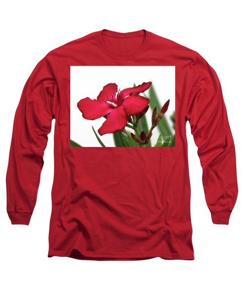 Long Sleeve T-Shirt featuring the photograph Oleander Blood-red Velvet 2 by Wilhelm Hufnagl