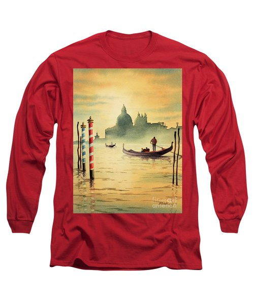 Long Sleeve T-Shirt featuring the painting On The Grand Canal Venice Italy by Bill Holkham