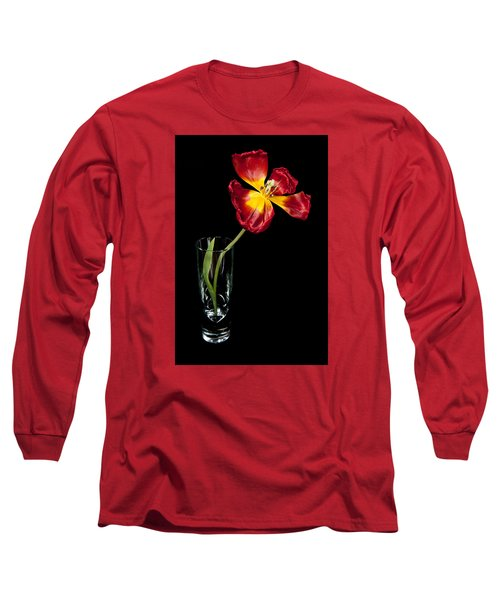 Open Red Tulip In Vase Long Sleeve T-Shirt