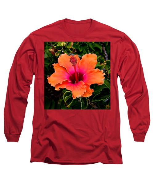 Orange And Pink Hibiscus 2 Long Sleeve T-Shirt