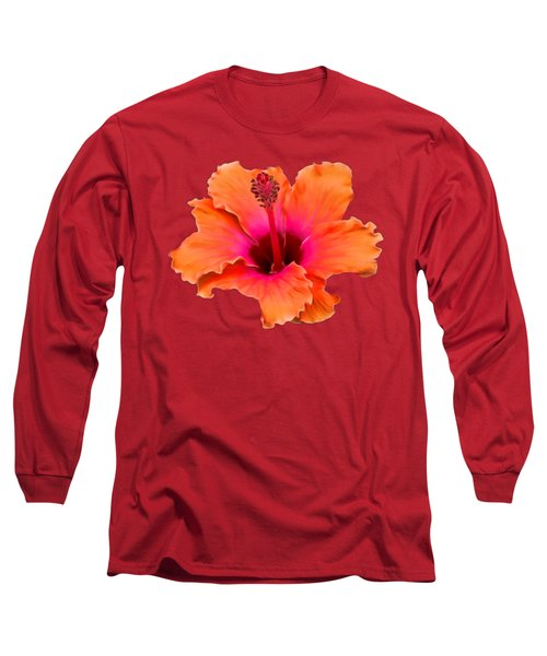 Orange And Pink Hibiscus Long Sleeve T-Shirt