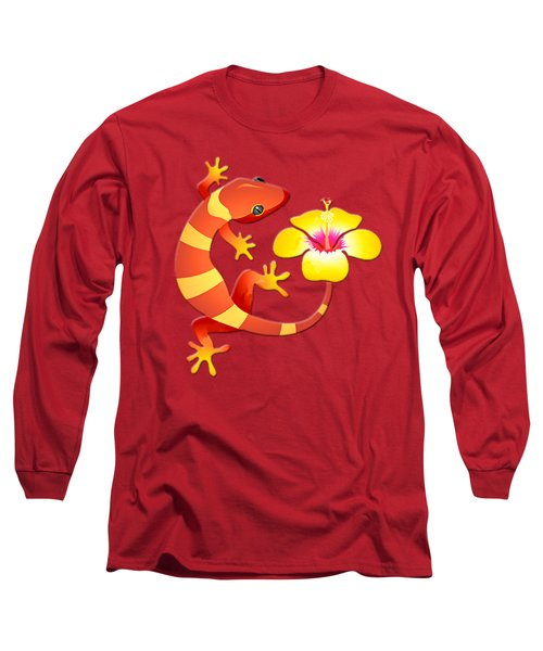 Orange And Yellow Jungle Lizard With Yellow Hibiscus/background Long Sleeve T-Shirt