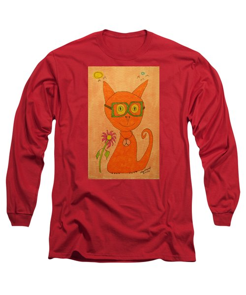 Orange Cat With Glasses Long Sleeve T-Shirt
