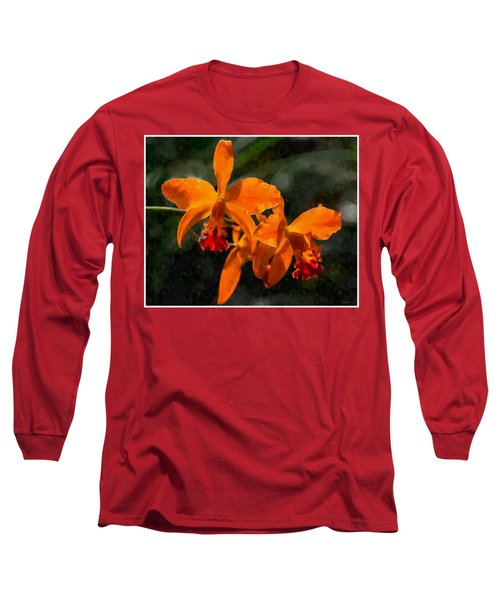 Long Sleeve T-Shirt featuring the digital art Orange Cattleya Orchid by Kai Saarto