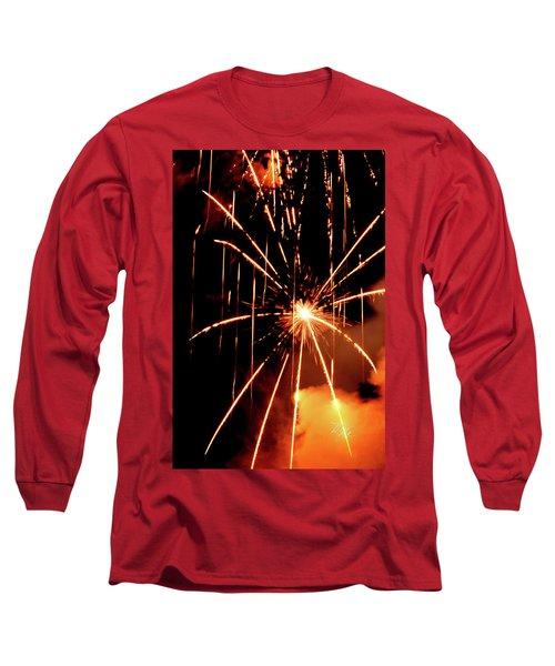 Orange Chetola Fireworks Long Sleeve T-Shirt by Meta Gatschenberger