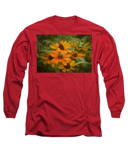 Orange Flowers And Bee Long Sleeve T-Shirt