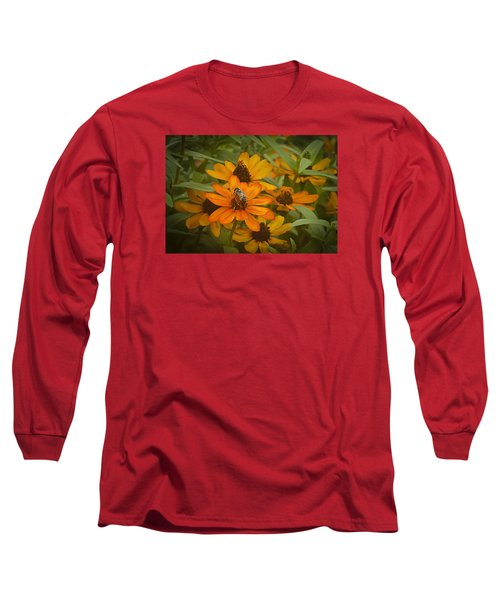 Orange Flowers And Bee Long Sleeve T-Shirt