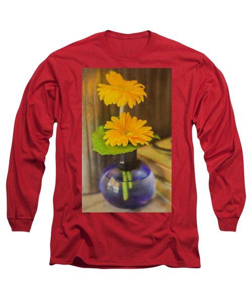 Orange Flowers Blue Vase Long Sleeve T-Shirt