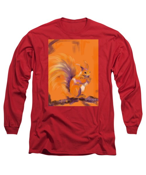 Orange Forest Squirrel Long Sleeve T-Shirt by Go Van Kampen