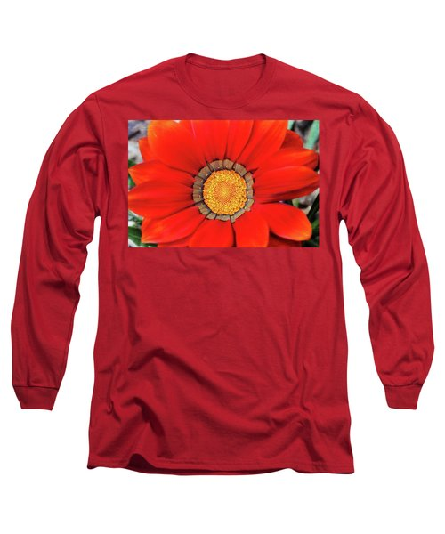 Orange Gazania With Texture Long Sleeve T-Shirt by Trina Ansel