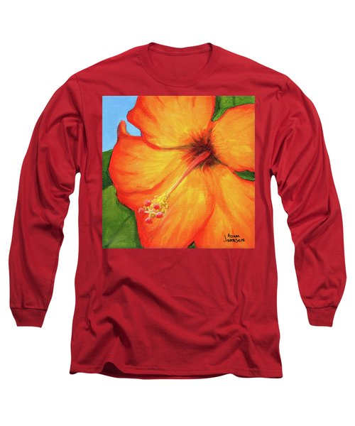 Orange Hibiscus Flower Long Sleeve T-Shirt