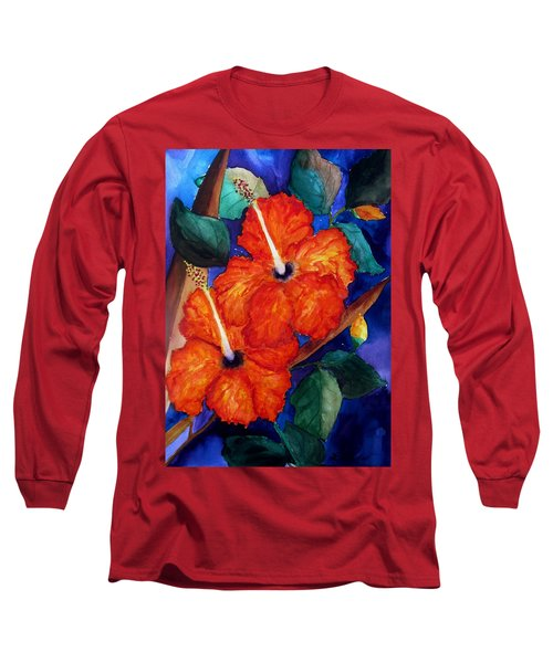 Orange Hibiscus Long Sleeve T-Shirt by Lil Taylor