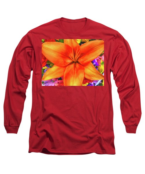 Long Sleeve T-Shirt featuring the painting Orange Lilly Art by Deborah Benoit