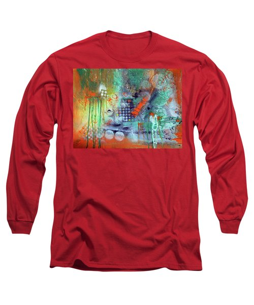 Long Sleeve T-Shirt featuring the painting Orange Optimist by Everette McMahan jr