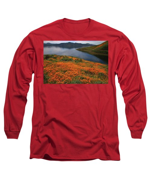 Long Sleeve T-Shirt featuring the photograph Orange Poppy Fields At Diamond Lake In California by Jetson Nguyen