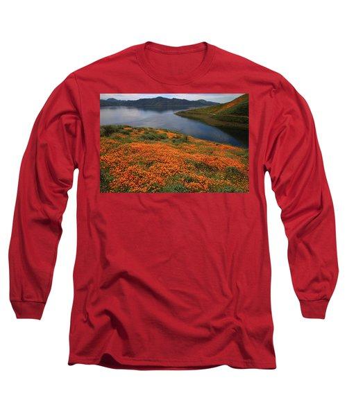 Orange Poppy Fields At Diamond Lake In California Long Sleeve T-Shirt