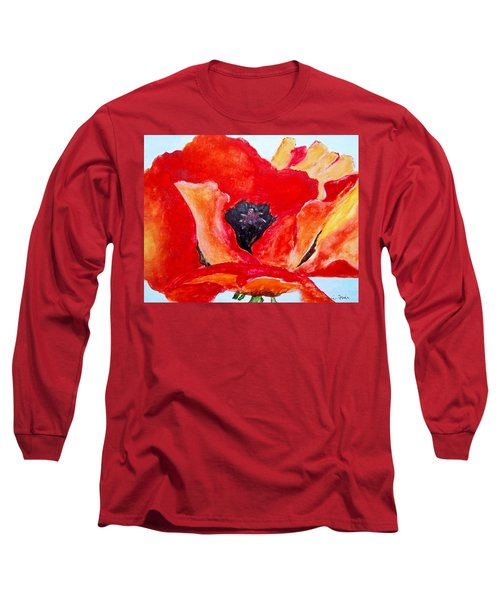 Orange Poppy Long Sleeve T-Shirt by Jamie Frier