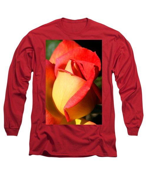 Orange Rosebud Long Sleeve T-Shirt by Ralph A  Ledergerber-Photography