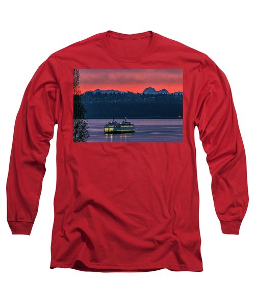 Orange Sky With Purple Sea Long Sleeve T-Shirt