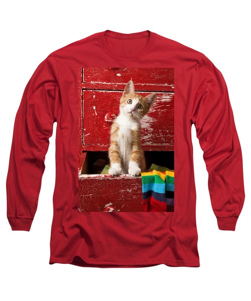 Orange Tabby Kitten In Red Drawer  Long Sleeve T-Shirt