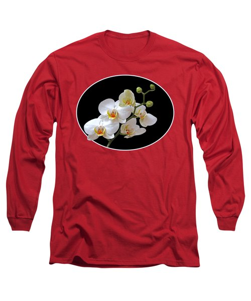 Orchids On Black And Orange Long Sleeve T-Shirt by Gill Billington