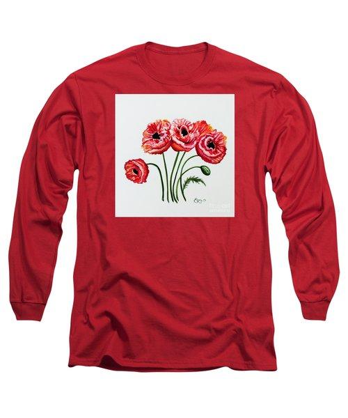 Oriental Poppies Long Sleeve T-Shirt by Elizabeth Robinette Tyndall