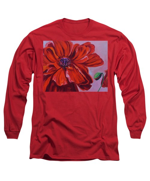 Oriental Poppy With Bud Long Sleeve T-Shirt
