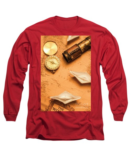 Origami Paper Boats On A Voyage Of Exploration Long Sleeve T-Shirt