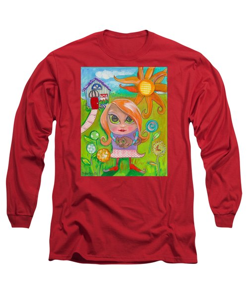 Original Art Girl And The Cat -with Flowers Long Sleeve T-Shirt by Shelley Overton