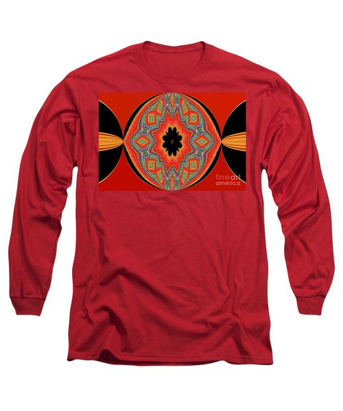 Unique And Colorful Orange Black Yellow Design Long Sleeve T-Shirt