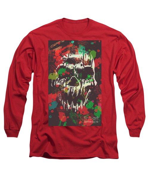 Paint Splash Skull Long Sleeve T-Shirt