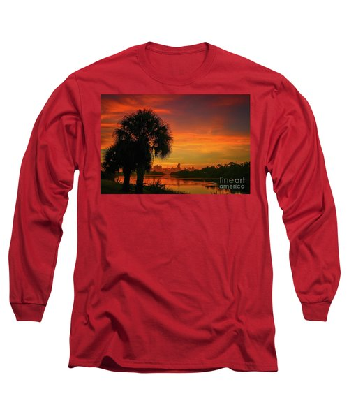 Palm Silhouette Sunrise Long Sleeve T-Shirt