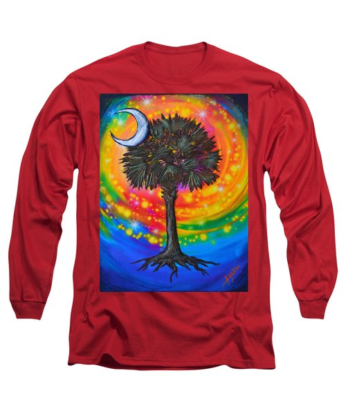 Long Sleeve T-Shirt featuring the painting Palmetto Tree Of Life by Agata Lindquist