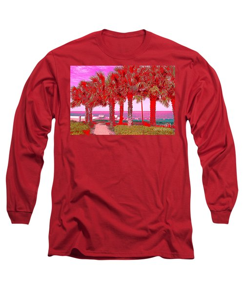 Palms In Red Long Sleeve T-Shirt