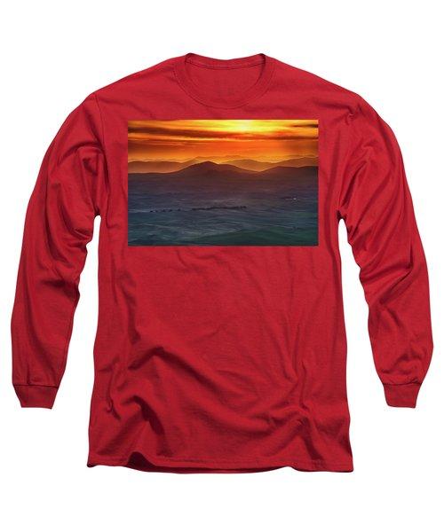 Palouse Sunrise  Long Sleeve T-Shirt by Ronald Spencer