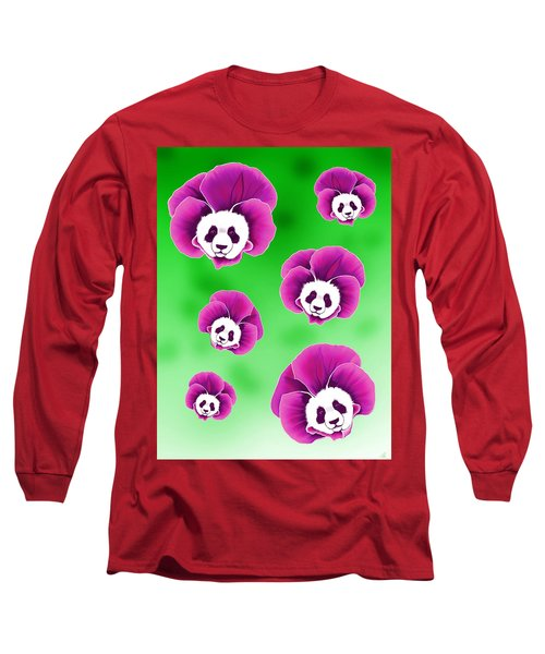 Panda Pansies Long Sleeve T-Shirt