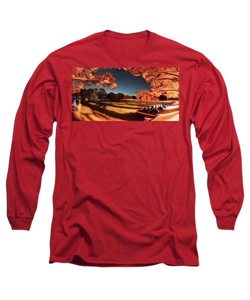Panorama Of A Starry Night Over The Frio River - Garners State Park - Texas Hill Country Long Sleeve T-Shirt