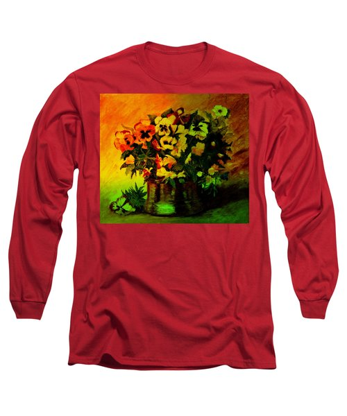 Pansies In The Vase Long Sleeve T-Shirt